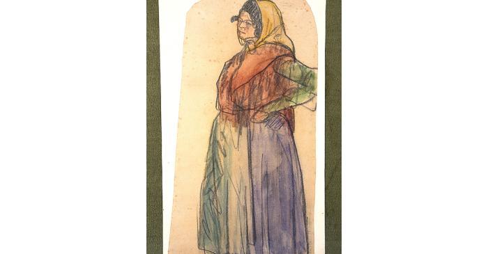 <p><em>La gitana</em>, Isidre Nonell i Monturiol, 1902, carboncillo y acuarela sobre papel, 49 &times; 27 cm</p>