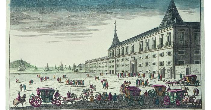 <p>Vista &ograve;ptica <em>Vue du Palais du Duc d&rsquo;Aveiro &agrave; Lisbonne</em>, Daumont (editor), Fran&ccedil;a, <em>c.</em> 1780</p>