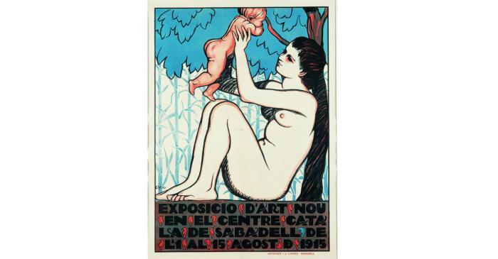 <p>Exhibition poster for &ldquo;Art Nou catal&agrave;&rdquo; (New Catalan Art), Feliu Elias, 1910, silkscreen printing, 83 &times; 61 cm</p>