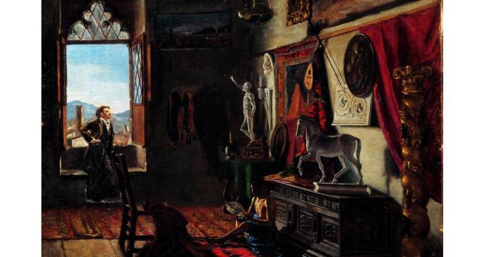 <p><em>Taller del pintor Tom&agrave;s Moragas</em>, Joan Figueras Soler, c. 1879, oli sobre tela, 64 &times; 47 cm</p>