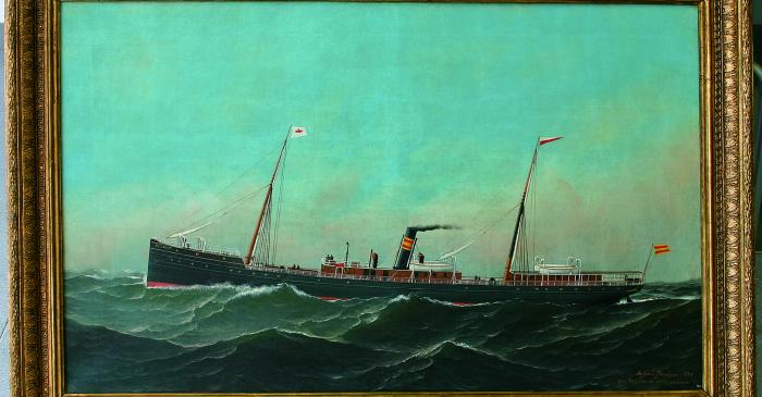 <p>Representaci&oacute;n del vaixell El Cano, Antonio Jacobsen, 1886</p>