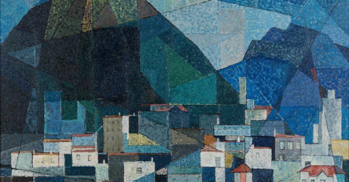 <p>Cases d'Olot, Josep Maria Vayreda Canadell, 1956. Oli sobre tela. Donaci&oacute; al Museu de la Garrotxa</p>