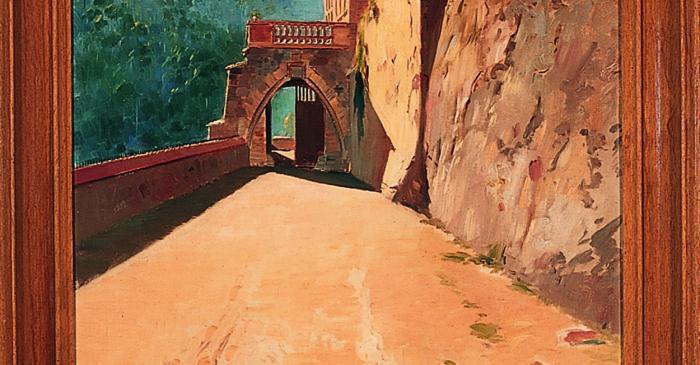 <p>Inv.: 1929. Joan Vila Cinca, <em>El Marquet de les Roques de la fam&iacute;lia Oliver</em> <em>(The Oliver family's Marquet de les Roques)</em>, Sant Lloren&ccedil; Savall, s.d. Oil on canvas, 181.5x70 cm.</p>