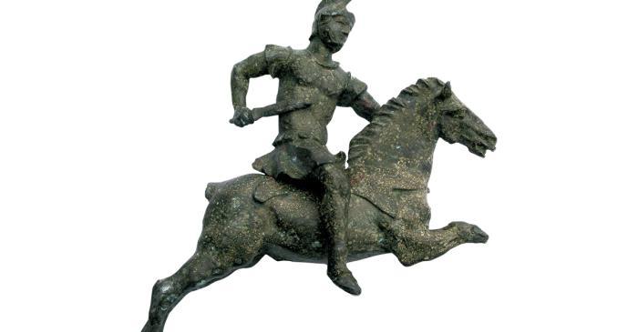 <p>Jinete romano de bronce, &eacute;poca alto imperial.</p>