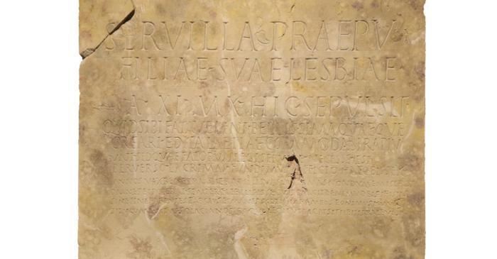 <p>L&aacute;pida funeraria de Lesbia, s. I &ndash; III d.C.</p>