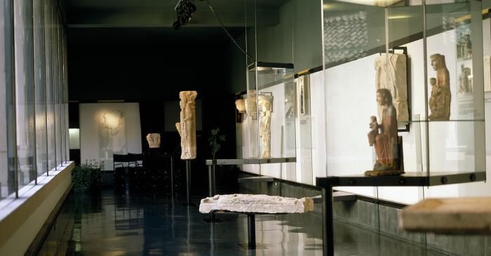 <p>Vista generau dera sala d'art romanic, plaçada en sobreclaustre dera catedrau de Solsona.</p>