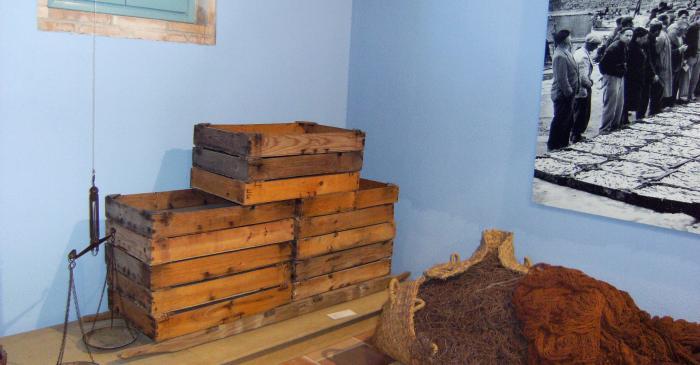 <p>Cajas de madera esperando ser llenadas de pescado para la subasta, situadas sobre una parihuela para ser transportadas.</p>