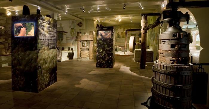 <p>Vista panor&aacute;mica de la sala dedicada a los tres grandes cultivos del pa&iacute;s: vid, trigo y olivo.</p>