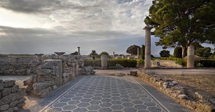 <p>Vista d&rsquo;un mosaic rom&agrave; bicrom d&rsquo;una de les estances de la Domus dels Mosaics</p>
