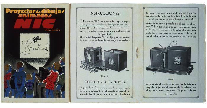 <p>Portada d&rsquo;un manual d&rsquo;instruccions d&rsquo;&uacute;s. Proyector NIC, SA. Cine NIC. Barcelona, 1931-1950</p>