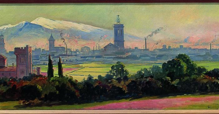 <p>Inv. 2740. Joan Vila Cinca, Panor&agrave;mica de Sabadell, 1910. Oli s. tela, 55x512 cm.</p>