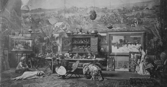 <p>Autor desconegut</p> <p>Taller de Fortuny a Roma, cap a 1873-1874</p> <p>C&ograve;pia moderna</p> <p>Institut Amatller d'Art Hisp&agrave;nic - Arxiu Mas, Barcelona</p>