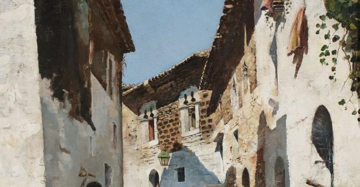 <p><strong>Joaquim de Mir&oacute; i Argenter (Sitges, 1849-1914)</strong></p> <p><em>Carrer d'en Bosch.</em> Sitges, cap a 1880</p> <p>Oli sobre tela</p> <p>Museu de Maricel, Sitges. Adquisici&oacute; del Consorci del Patrimoni de Sitges, 2016</p>