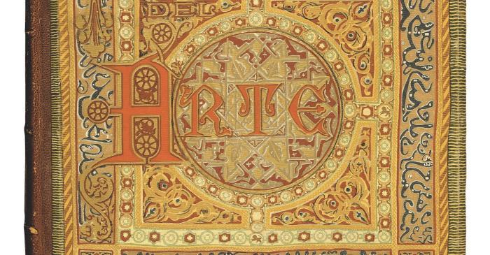 <p><strong>Llu&iacute;s Dom&egrave;nech i Montaner </strong>(Barcelona, 1850-1923)</p> <p>Coberta d&rsquo;Historia del Arte, 1886</p> <p>Impressi&oacute; sobre tela editorial</p> <p>Biblioteca de Catalunya, Barcelona</p>