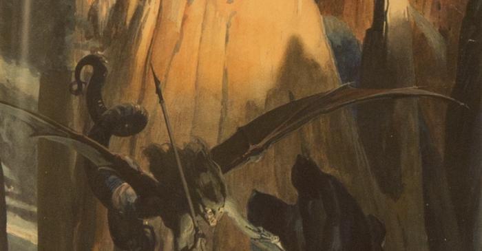 <p><em>En sentir-ho, el Pecat i la Mort es precipitaren joiosos sobre la Terra </em></p> <p>1914</p> <p>Aquarel&middot;la sobre paper</p> <p>Col&middot;lecci&oacute; Vicente Segrelles</p>
