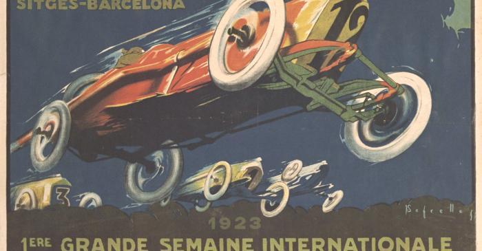 <p>Cartell de l&rsquo;Aut&ograve;drom de Sitges</p> <p>1923</p> <p>Litografia sobre papel</p> <p>Col&middot;lecci&oacute; particular</p>