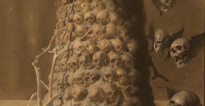 <p><em>Torre de cranis</em></p> <p>1921</p> <p>T&egrave;cnica mixta sobre paper</p> <p>Casa-Museo Jos&eacute; Segrelles, Albaida (Val&egrave;ncia)</p>