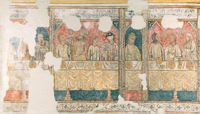 <p>Les fresques murales de la Pia Almoina, reflet de la charit&eacute; des habitants de Lleida pendant le bas Moyen-&Acirc;ge.</p>