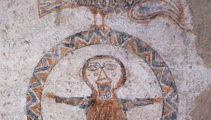 <p>Orant, decoració mural de l'església de Sant Quirze de Pedret (Berguedà), final s. X-inici de l'XI.</p>