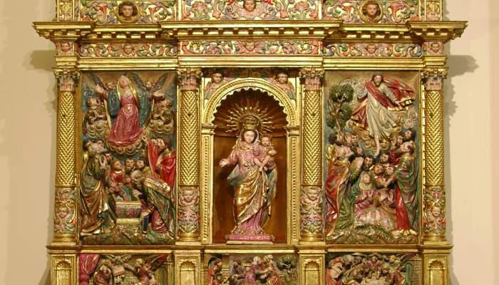 <p><em>Marededéu del Roser</em> altarpiece, from the church of Sant Martí in Riner (Solsonès), seventeenth century.</p>