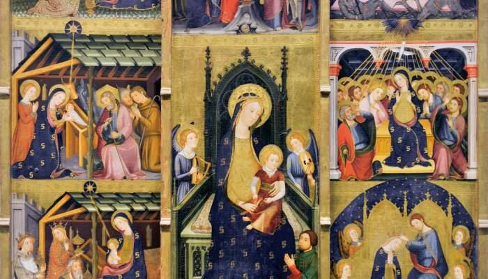 <p>Retablo de los Gozos de la Virgen de Abella de la Conca (MDU 71), g&oacute;tico catal&aacute;n, Pere Serra, s. XIV.</p>