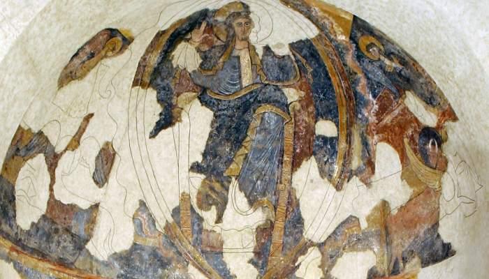 <p><em>Absis</em>, Mestre de Pedriny&agrave;, finals del segle XII - principis del segle XIII. Fresc traspassat a tela, 460 x 335 x 227 cm. Esgl&eacute;sia de Sant Andreu de Pedriny&agrave;. Museu d&rsquo;Art de Girona - Fons Bisbat de Girona.</p>