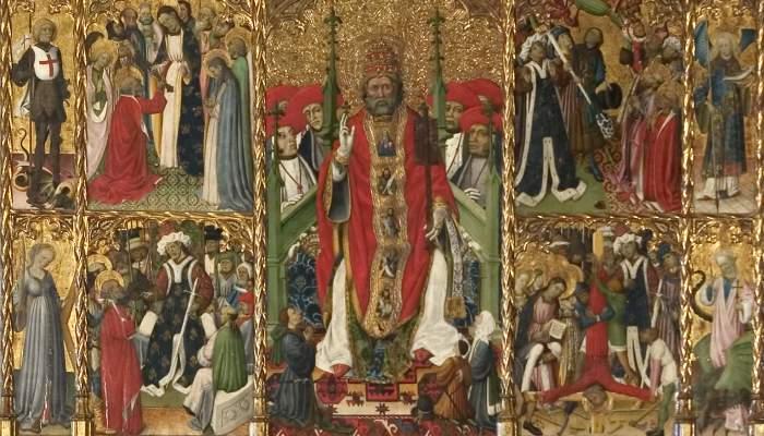 <p><em>Retaule de Sant Pere de P&uacute;bol,</em>&nbsp;Bernat Martorell, 1437. Pintura al tremp sobre fusta, 490 x 370 cm. Esgl&eacute;sia de Sant Pere de P&uacute;bol. Museu d'Art de Girona - Fons Bisbat de Girona.</p>