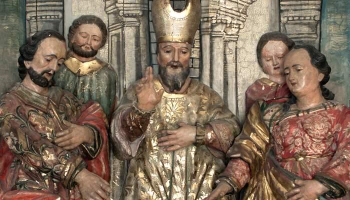 <p><em>Casament de la Mare de D&eacute;u</em>, Francesc Generes, 1677. Talla de fusta daurada i policromada, 220 x&nbsp; 134 x 44 cm. Esgl&eacute;sia de sant Feliu, Girona. Museu d&#39;Art de Girona - Fons Bisbat de Girona.</p>