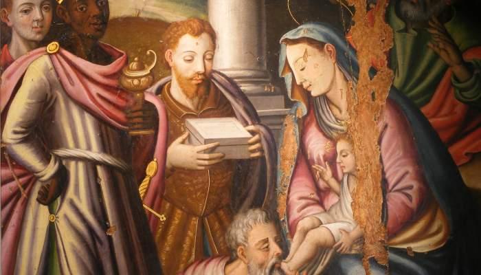 <p><em>Adoraci&oacute;n de los Reyes Magos,</em> Crist&ograve;for Hortoneda.</p>