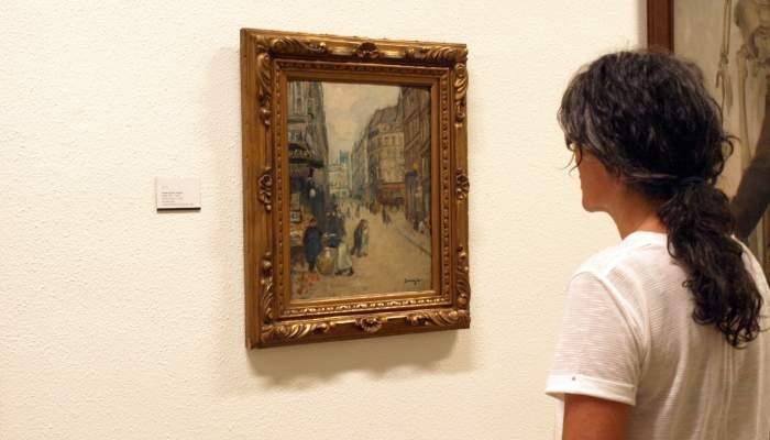 <p>Joaquim Sunyer de Miró (Sitges 1874 - 1956). <em>Rue du marché</em>, c. 1902. Oli sobre cartró. 41 x 33 cm.</p>