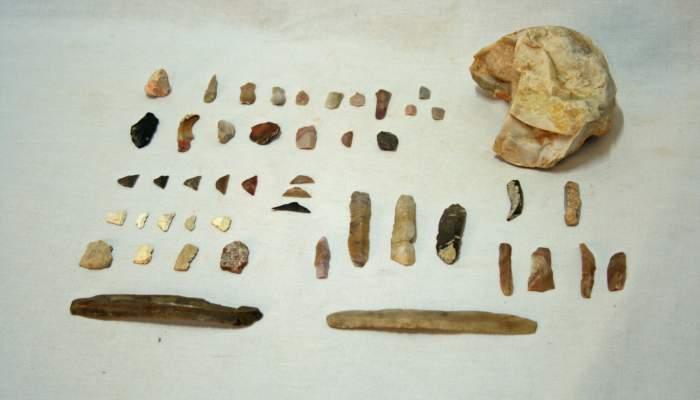 <p>Diversos tipus d&rsquo;eines l&iacute;tiques exposades a l&rsquo;espai de prehist&ograve;ria del museu.</p>