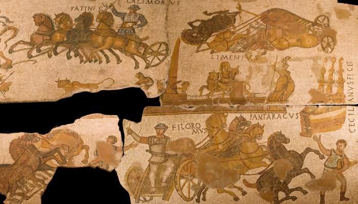 <p>Mosaico pavimental de Can Pau Birol, Bell-lloc del Pla, Girona, 300 d. C.</p> <p><em>Opus tesselatum.</em> 3,40 x 6,10 m.</p>