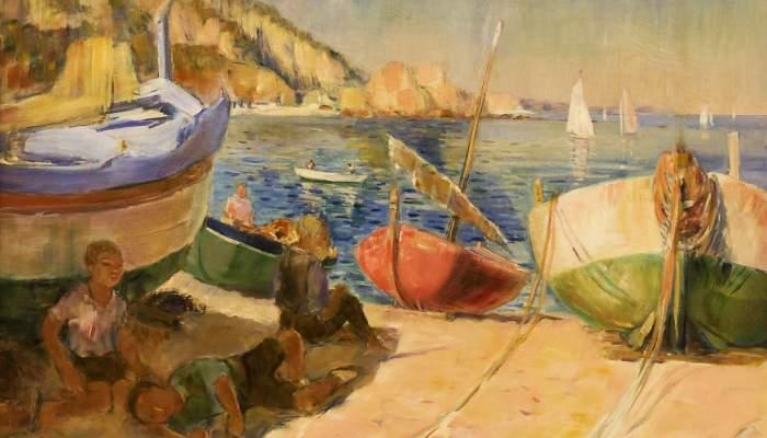 <p><em>Barques varades</em>, 1935. Rafael Benet (Terrassa, 1889 - Barcelona, 1979). Oli sobre tela.</p>