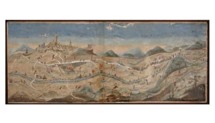 <p>Vista de Cervera que muestra el abastecimiento del agua, pergamino a color datado sobre el 1700. MCC. Foto: Jordi Prat.</p>