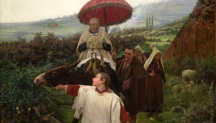 """<p>""""Un combregar a muntanya<em>""""</em>, Mari&agrave; Vayreda, 1887. Oil on canvas. From the collection at the Museu Nacional d&rsquo;Art de Catalunya, Barcelona.</p>"""