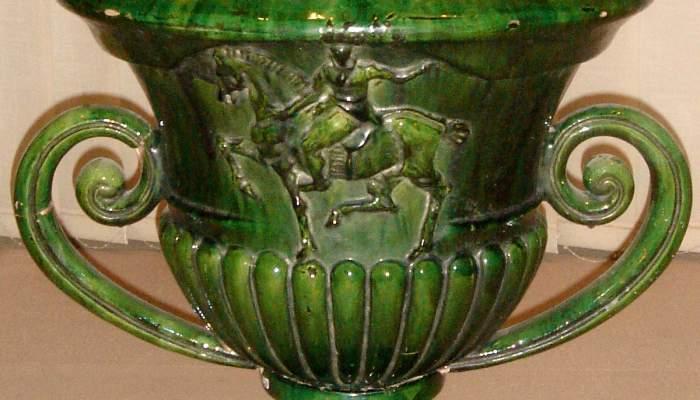 <p>Vase en c&eacute;ramique pour la d&eacute;coration de la corniche de la fontaine de Santa Anna de Barcelone, Josep Aragay 1918.</p>