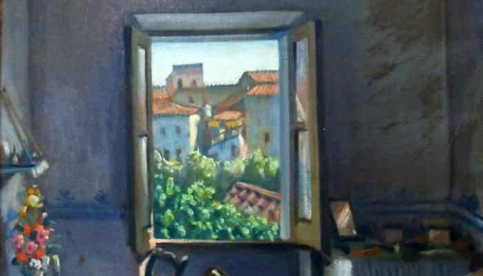 <p><em>Finestra oberta</em> o <em>Interior d'una cambra,</em> Josep Aragay, 1922. Oli sobre tela.</p>