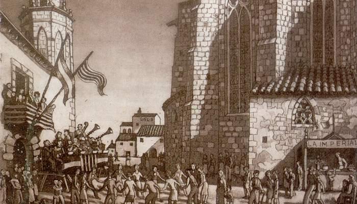 <p><em>Festa major,</em> Josep Aragay, 1937. Aiguafort.</p>