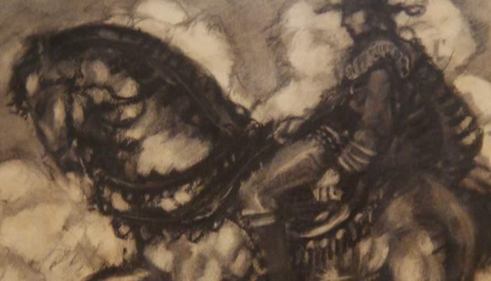 <p><em>L'Explorador,</em> Josep Aragay, 1912. Dibuix al carb&oacute;.</p>