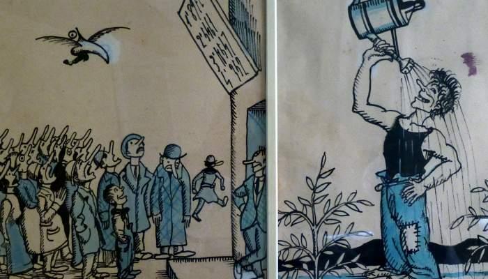 <p>Dibujos originales para la revista <em>Borinot</em>, Josep Aragay, 1923.</p>