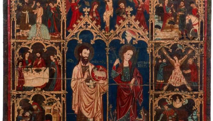 <p>Retaule de sant Joan i santa Margarida d&rsquo;Antioquia. Procedent de l&rsquo;esgl&eacute;sia vella d&rsquo;Alcover.</p>