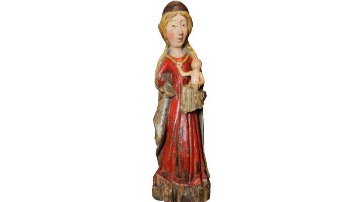 <p>Virgen con el ni&ntilde;o. Madera policromada y dorada. Siglo&nbsp;XIV. Fotograf&iacute;a: Mart&iacute; Artalejo.</p>