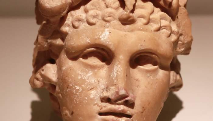 <p>Testa de Bacus jove (efeb), c. segle II dC, pedra calc&agrave;ria i marbre, 15 &times; 10 cm. Foto Pere Cornellas, 2014</p>