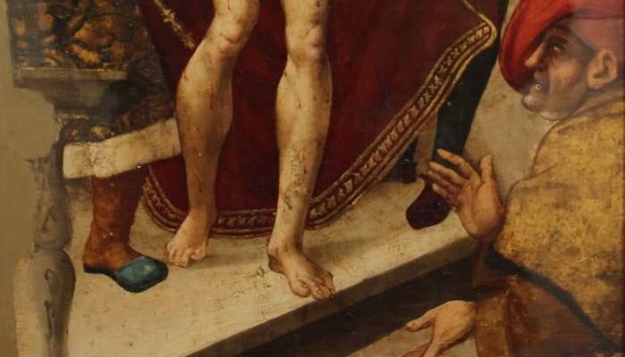 <p><em>Cam&iacute; del Calvari</em>, atribu&iuml;t a Pere Mates, segle XVI, oli i tremp sobre taula, 111 &times; 40,5 cm</p>