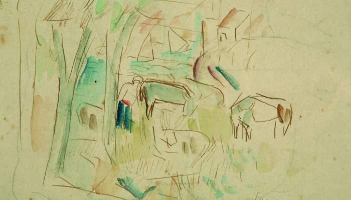 <p><em>Paysage avec des vaches</em>, Manolo Cano de Castro, s. d., aquarelle et encre sur papier, 14,5 &times; 17 cm</p>