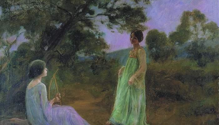 <p><em>Paysage nocturne avec deux jeunes filles</em>, Joan Brull i Vinyoles, s. d., huile sur toile, 63 &times; 80 cm</p>