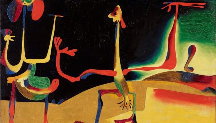<p><em>Home i dona davant d&rsquo;un munt d&rsquo;excrements</em>, Joan Mir&oacute;, 1935, oli damunt coure, 23 &times; 32 cm, Fundaci&oacute; Joan Mir&oacute;, Barcelona. Donaci&oacute; de Pilar Juncosa de Mir&oacute;</p>
