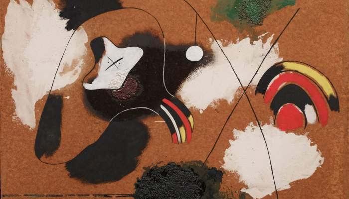 <p><em>Pintura</em>, Joan Mir&oacute;, 1936, oli, quitr&agrave;, case&iuml;na i sorra damunt masonite, 78 &times; 108 cm, Fundaci&oacute; Joan Mir&oacute;, Barcelona. Donaci&oacute; de David Fern&aacute;ndez Mir&oacute;</p>