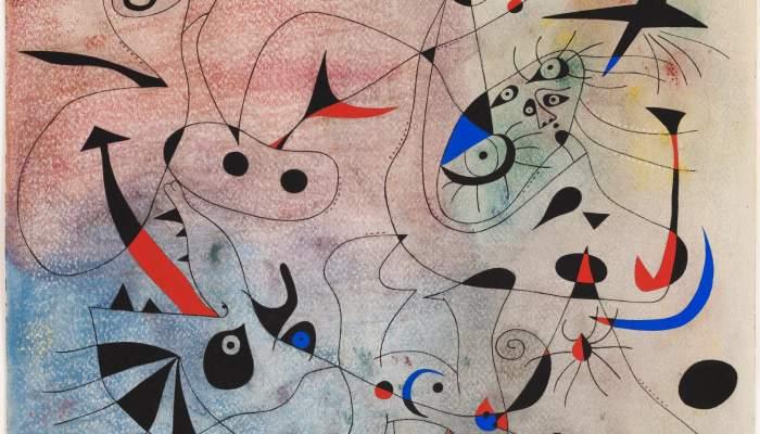 <p><em>L&rsquo;estel matinal</em>, Joan Mir&oacute;, 1940, guaix, oli i pastel damunt paper, 38 &times; 46 cm, Fundaci&oacute; Joan Mir&oacute;, Barcelona. Donaci&oacute; de Pilar Juncosa de Mir&oacute;</p>