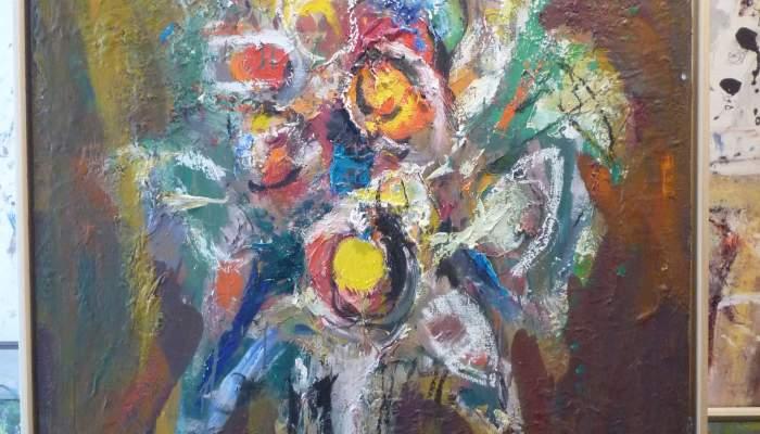 <p><em>Fleurs</em>, s&eacute;rie &laquo; Fleurs et couleurs &raquo;, 2014, huile sur toile, 100 x 81 cm</p>